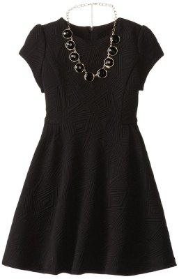 Michelle Big Girls Geo Pattern Cap Sleeve Dress